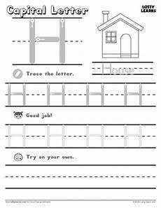 capital letter h lotty learns letter h worksheets