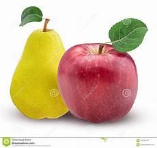 Malvorlage Apfel Mit Blatt Gelbe Birne Und Roter Apfel Mit Blatt Stockbild Bild