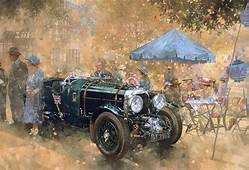 Garden Party With The Bentley Painting By Peter Miller