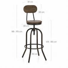 tabouret de bar hauteur assise 85 cm taburete en madera y metal vintage swivel