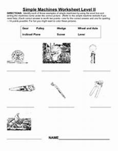 simple machines worksheet level ii 3rd 4th grade worksheet lesson planet