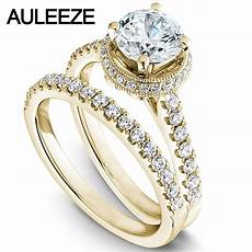 modern halo round 1 carat moissanites bride wedding ring