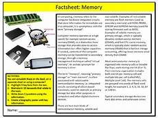 computer memory factsheet worksheet ict computing starter