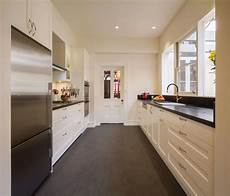 galley kitchen with island layout common kitchen layouts the kitchen design centre