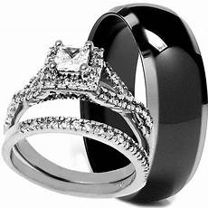 his hers 3 pcs solid titanium and 925 sterling silver womens wedding rings ebay