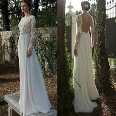 robe de mariée dentelle manches longues discount 2015 sleeve backless summer wedding dress a