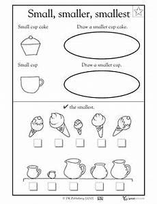 small smaller smallest printable preschool worksheets kindergarten math worksheets