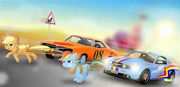 Rainbow Dash Applejack Cars Race Pedro992  My Little