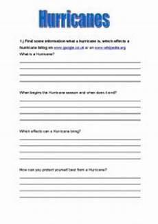 english worksheets hurricanes