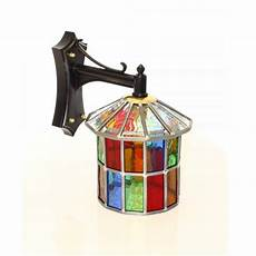multi coloured stained glass outdoor wall lantern ip23