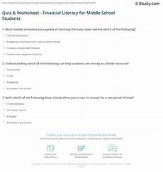 quiz worksheet financial literacy for middle school students study