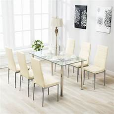 7 piece dining table for 6 chairs clear glass metal kitchen room breakfast 711005976992 ebay