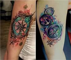 kompass bunt oberarm frau nautical compass