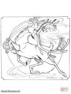 nouveau reindeer coloring page free printable