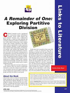 Pdf A Remainder Of One Exploring Partitive Division
