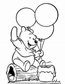 winnie the pooh holding balloons lukisan warna untuk