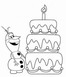 olaf and birthday cake coloring sheet frozen coloring