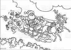 reindeer flying santas sleigh stock illustration