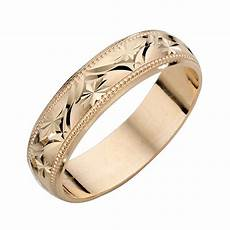 9ct yellow gold ladies patterned wedding band h samuel