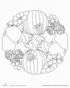 fruit and vegetable mandala coloring page crafts and