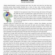 baseball time fifth grade reading comprehension worksheet reading comprehension worksheets