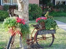 Garten Deko Ideen Fahrrad Mit Blumen Als Gartendekoration