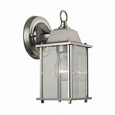 1 light brushed nickel outdoor wall sconce tn 60289 the home depot