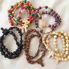 Bakeey Carved Cross Beaded Bracelet by Lot Of Wood Bead Cross Bracelets Design Craft Handmade