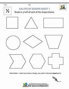 shapes in half worksheets 1140 fraction math worksheets