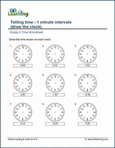 time worksheet class 5 2955 grade 3 telling time worksheet draw the clock 1 minute intervals k5 learning