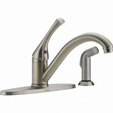 delta classic single handle kitchen faucet delta classic single handle standard kitchen faucet with side sprayer in stainless steel 400 ss