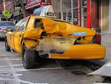 Image Wrecked Ford Crown Victoria NYC Taxi Cab Parked At