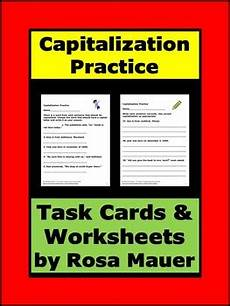 capitalization and punctuation review worksheets 20886 capitalization practice task cards capitalization worksheets review