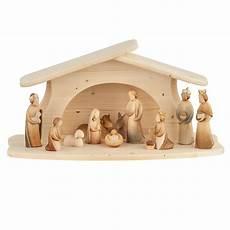 Modern Nativity Set 12 Pieces Woodcarvings Val Gardena