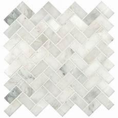 Kitchen Backsplash Tile Mesh by Greyish White Herringbone Pattern Honed Marble Mesh