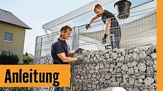 stützmauer bauen anleitung gabione selber bauen hornbach meisterschmiede selber