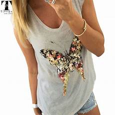 2017 summer t shirts for 3d sequined butterfly