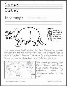 free dinosaur worksheets for grade 15398 triceratops coloring worksheet cross curricular dinosaur worksheet for primary grades