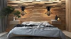 Modern Design Wooden Wall In The Interior Of The Bedroom