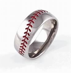 men s titanium baseball wedding ring with color stitching titanium wedding rings wedding