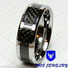 tungsten carbide ring 8mm black carbon fiber men s wedding band ring size 8 14 ebay