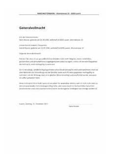 Generalvollmacht Ohne Notar Muster - vollmacht vorlage schweiz muster vorlage ch