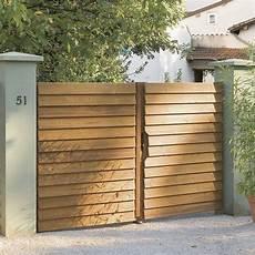 Portail Battant Bois Imex Naturel L 350 X H 180 Cm