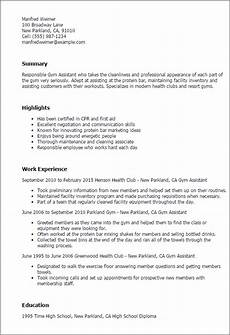 1 gym assistant resume templates try them now