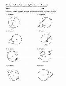 geometry unit 10 circle angles form by chords secants tangents worksheet