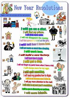 new year resolutions part 1 2 future tense will worksheet free esl printable worksheets made