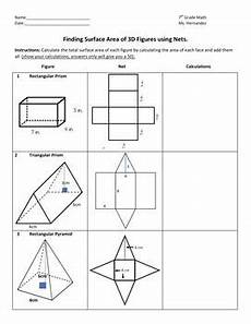 surface area of solids using nets special education math surface area area perimeter