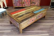 Couchtisch Holz 150x80x45 Massiv Schubladen Shabby