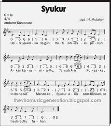 The Viro Notasi Angka Dan Notasi Balok Lagu Wajib Syukur
