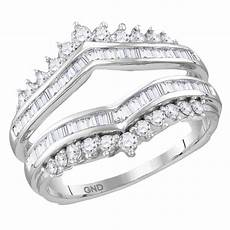 14kt white gold womens diamond wrap ring guard